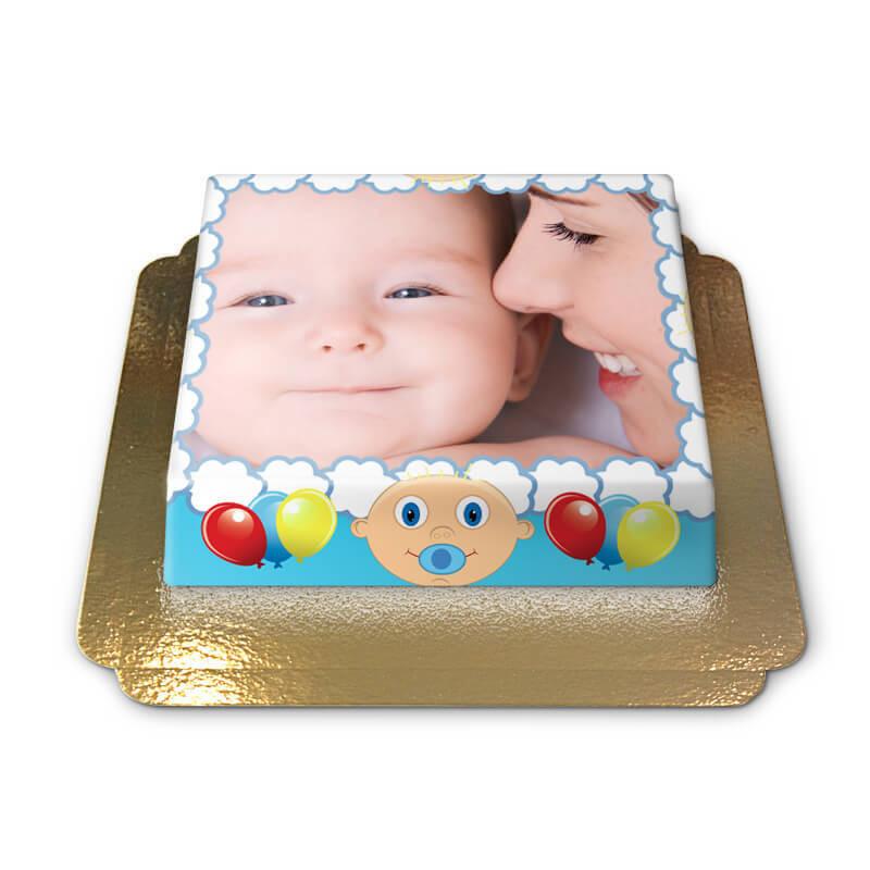 Tort ze zdjęciem - niebieska ramka z Baby motywem