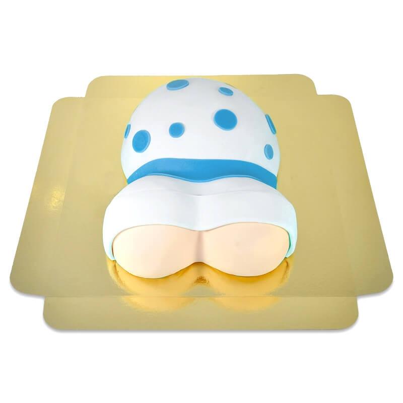 tort brzuszek z niebieską wstążką  2