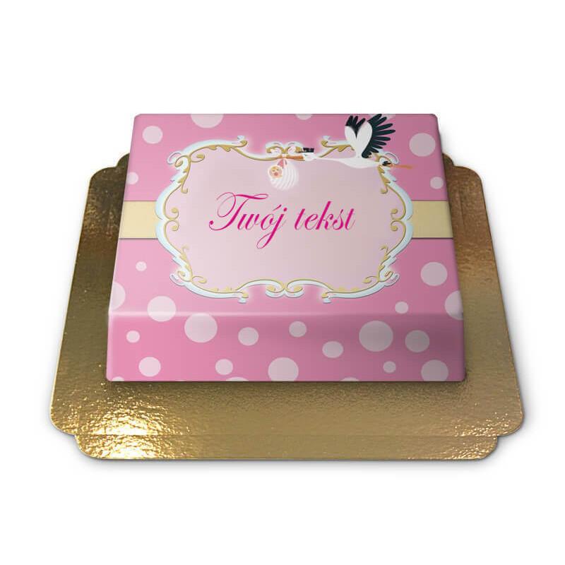 Tort - Bocian z niemowlęciem, różowy