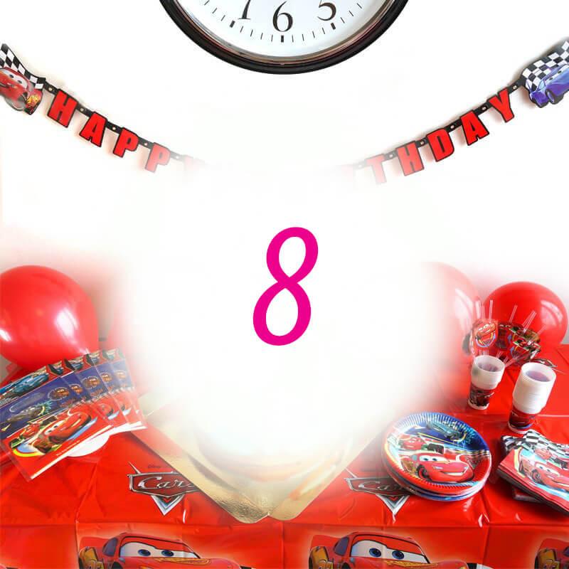 Auta Partyset dla 8 dzieci - bez tortu