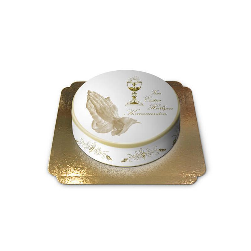 Tort na Bierzmowanie lub Komunię z białym gołębiem