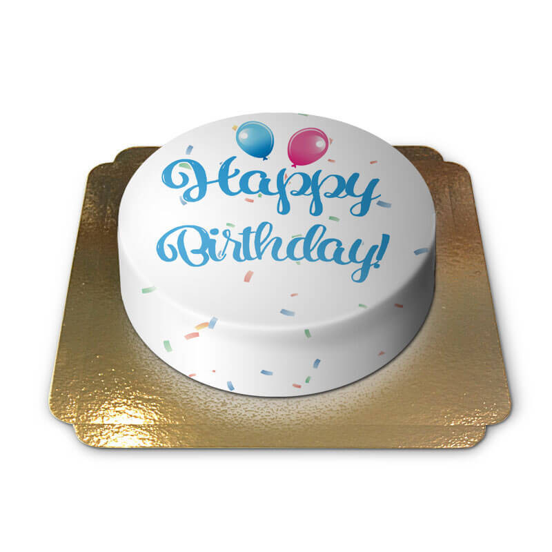 Tort z napisem Happy Birthday - niebieski