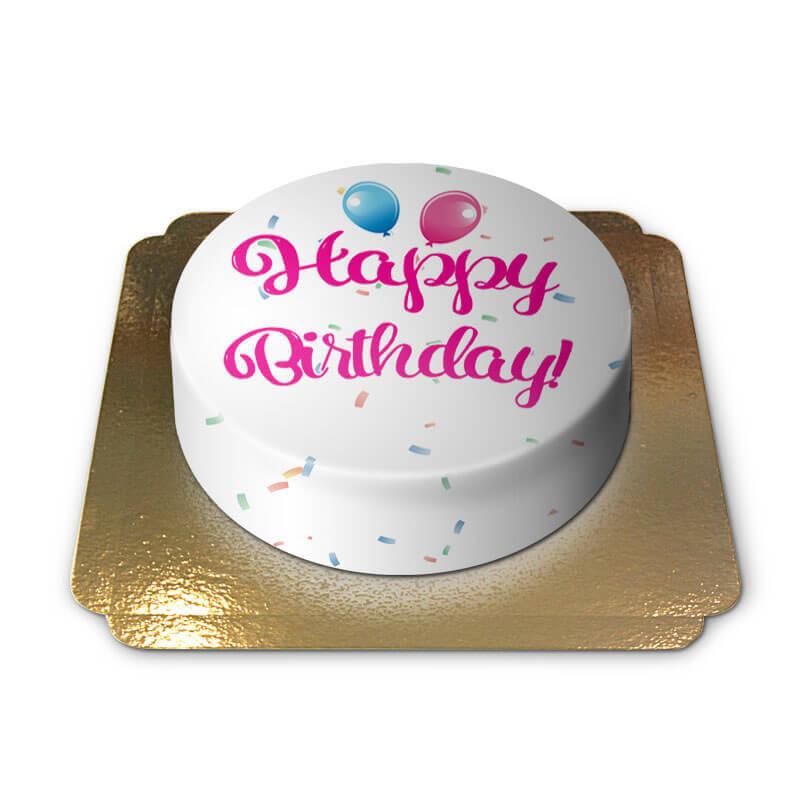 Tort z napisem Happy Birthday - różowy