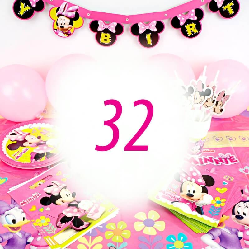 Partyset Minnie Maus für 32 Personen - ohne Torte