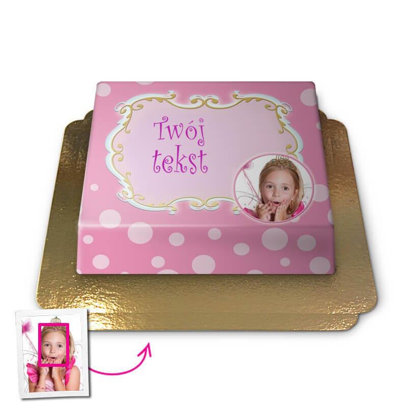Tort  Face-Cake - Pozdrowienia, różowy