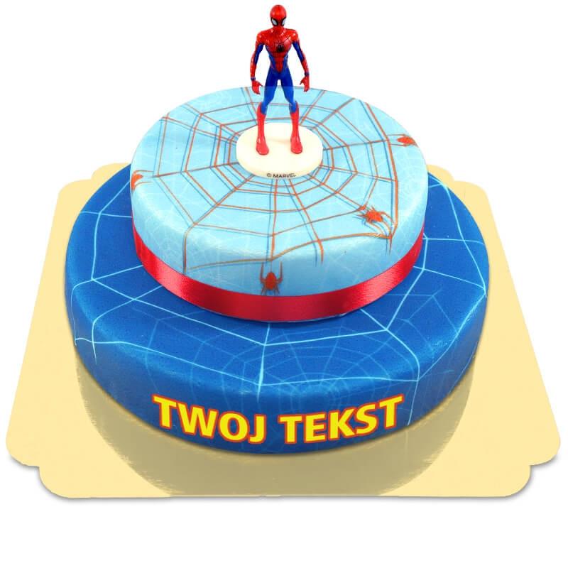 Spiderman na dwupiętrowym torcie z pajęczaną