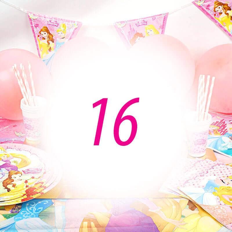 Partyset Księżniczki - zestaw dla 16 dzieci - dekoracja, bez tortu