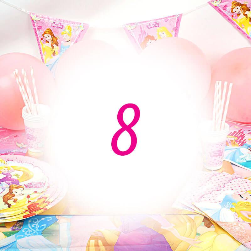 Partyset Księżniczki - zestaw dla 8 dzieci - dekoracja, bez tortu