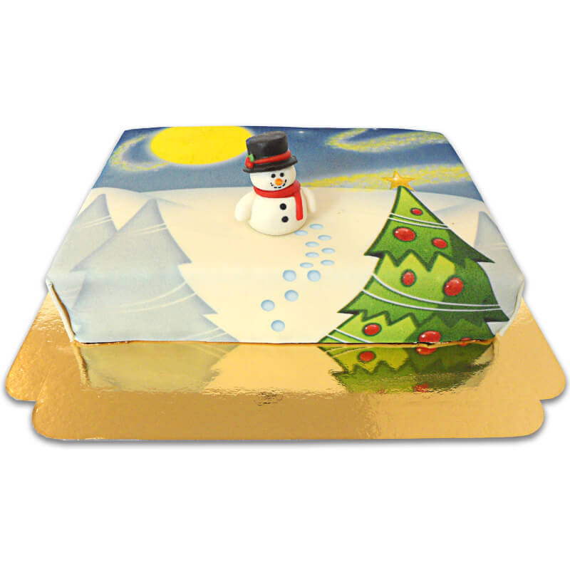 Schneeman auf Winterlandschafts-Torte online bestellen