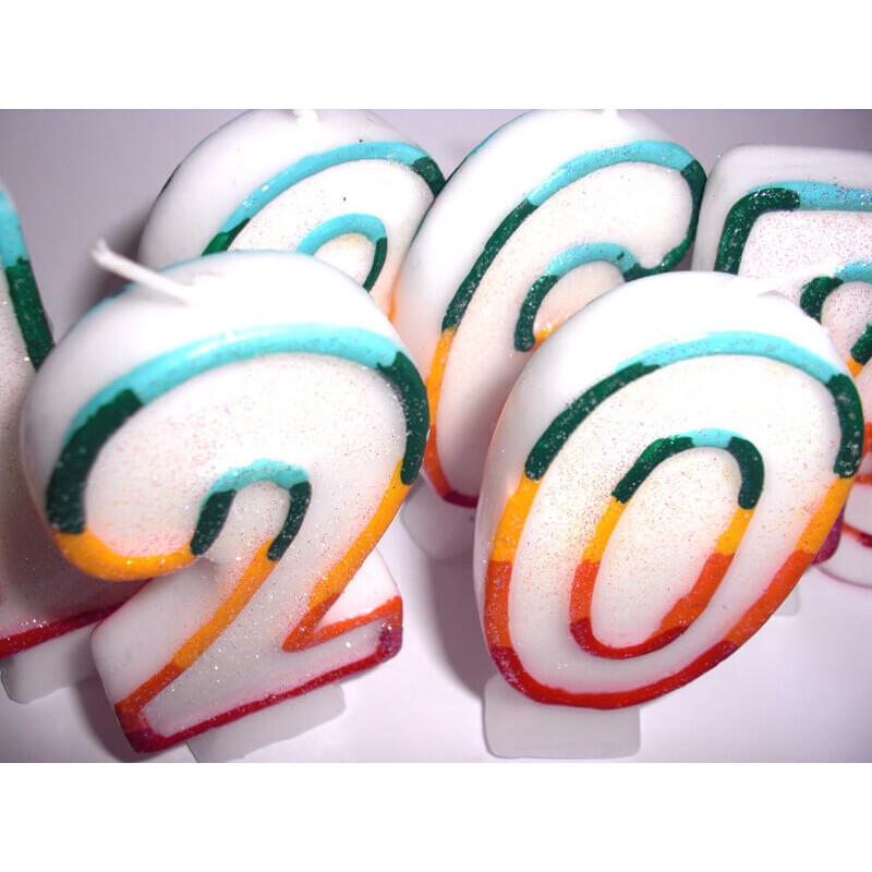 Kolorowa świeczka tortowa z cyfrą 7
