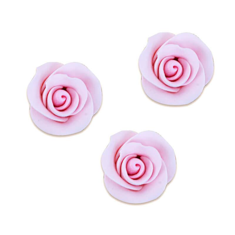 Cukrowa róża w kolorze różowym , około 28 mm (3 sztuka)