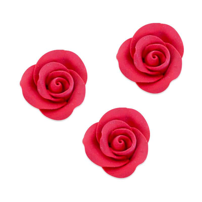 Cukrowa róża w kolorze czerwonym , około 28 mm (3 sztuka)